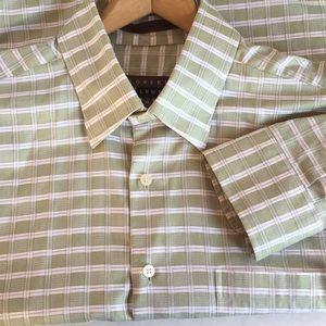 Robert Talbott XL green woven plaid LS shirt